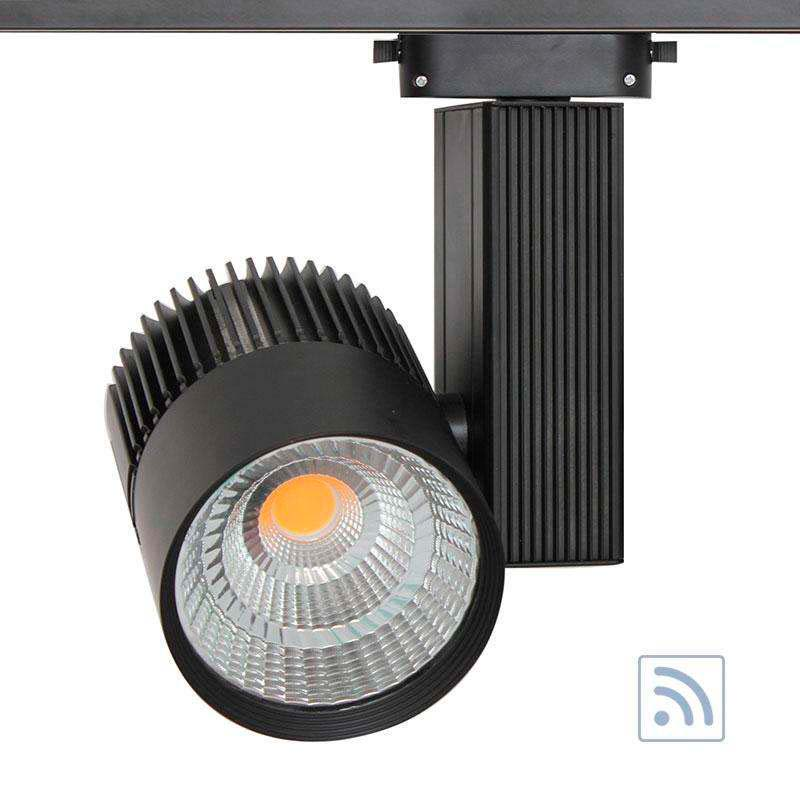 Foco carril CRONOLUX CREE led + TUV driver, negro 30W, RF, Regulable, Blanco cálido, Regulable